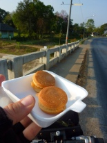 Early morning road food on the way to Ayutthaya... coconut cream filled sandwiches...ohhh boy